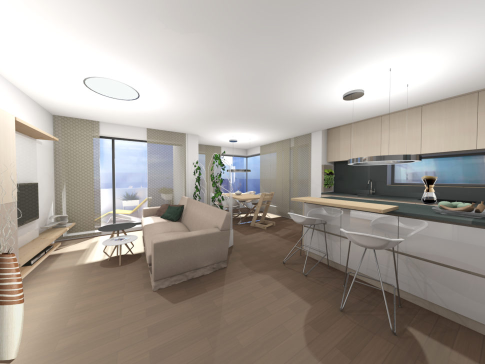 Vizualizace obývacího pokoje