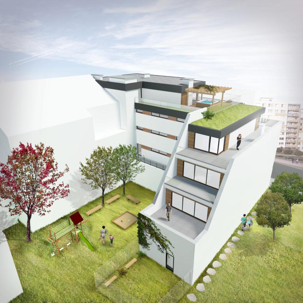 Pohled na bytový dům Výstavní - Slavíkova zezadu